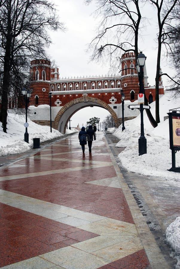 人们在Tsaritsyno公园走在莫斯科在冬天 免版税库存图片