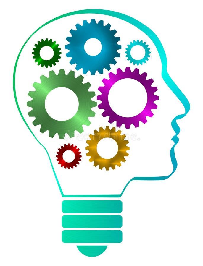 人头外形塑造了与里面铁齿轮的电灯泡 可利用的PNG 库存例证