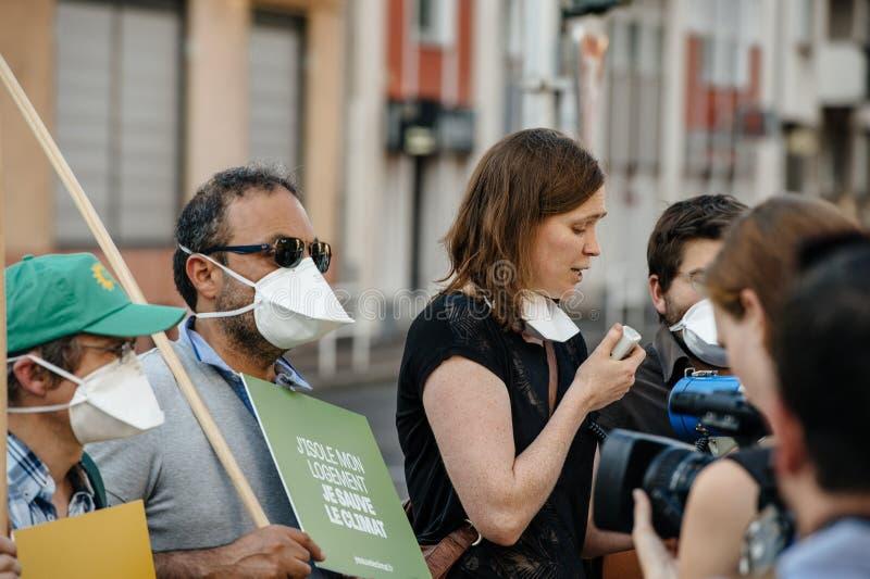 人们抗议反对大气污染 免版税库存图片