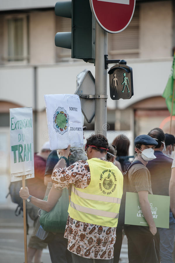 人们抗议反对大气污染 库存照片