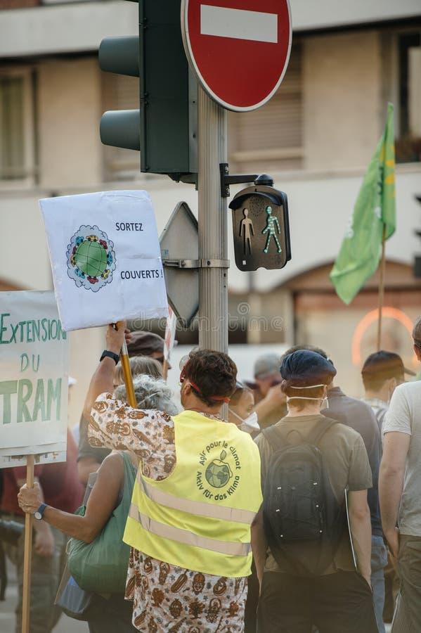人们抗议反对大气污染 图库摄影