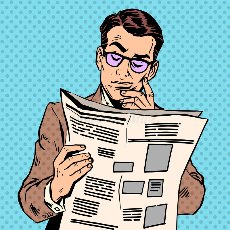 人读新闻纸 库存例证