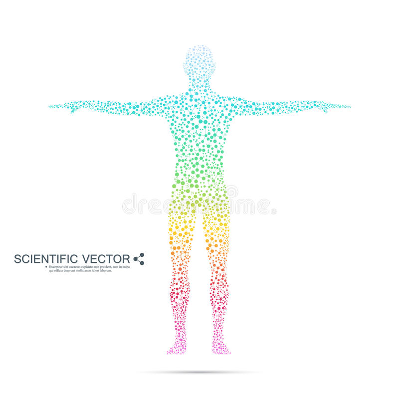 人结构分子  抽象模型人体脱氧核糖核酸 医学、科学技术 您的科学传染媒介 皇族释放例证