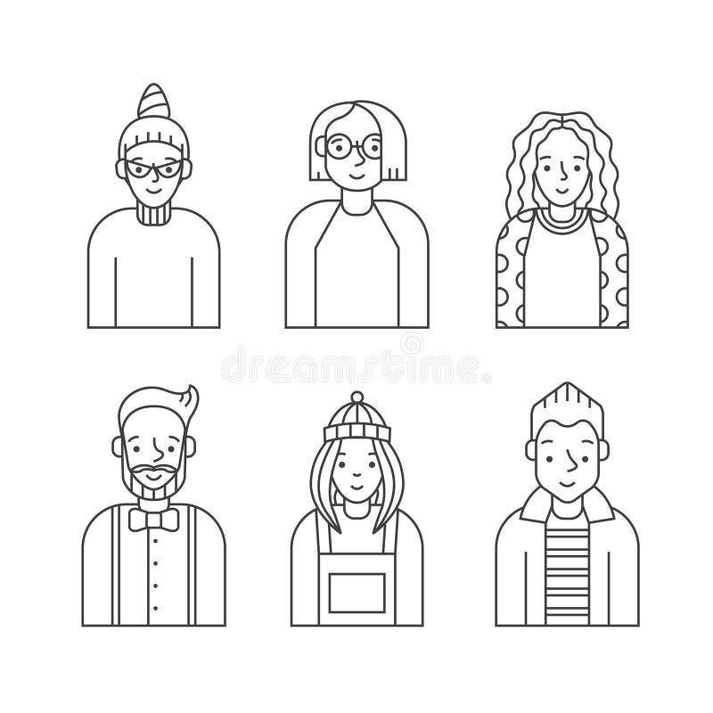 人们概述被设置的灰色象传染媒介(男人和妇女) Minimalistic设计 第六部分 皇族释放例证