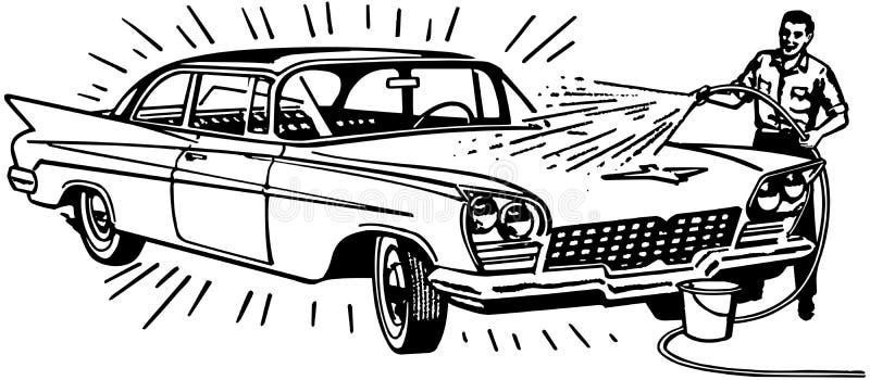 人洗涤的汽车 皇族释放例证
