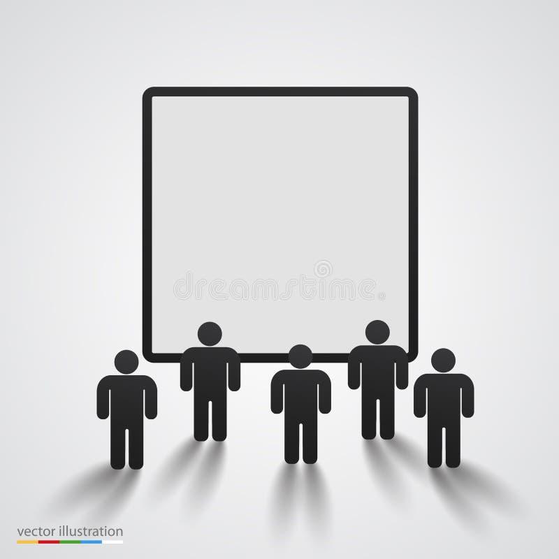 人们现出轮廓反对黑屏 向量例证