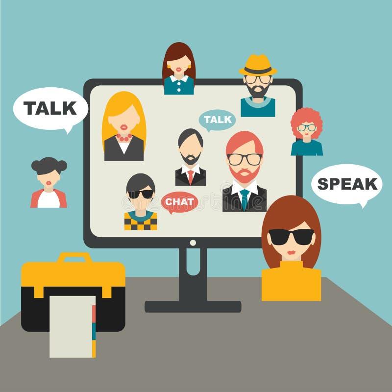 人们聊天全球性通信 库存例证