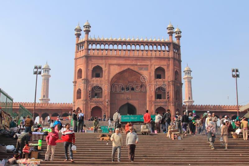 人们被会集做祷告在Jama Masjid 库存照片