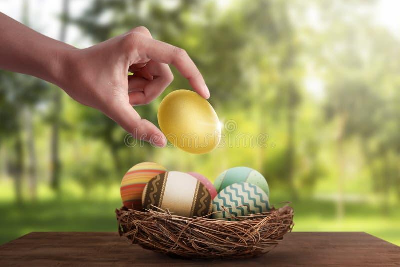 人们递被投入的金黄鸡蛋用其他复活节彩蛋 免版税库存照片