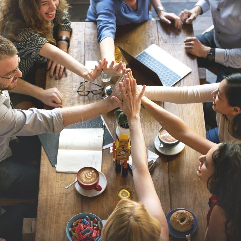 人们递装配连接会议配合概念 免版税库存照片