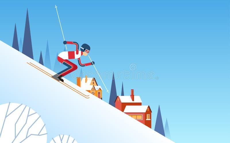 人滑雪的下坡冬季体育雪山背景 库存例证