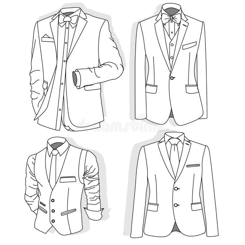 人` s夹克 礼仪人` s衣服,无尾礼服 向量 向量例证