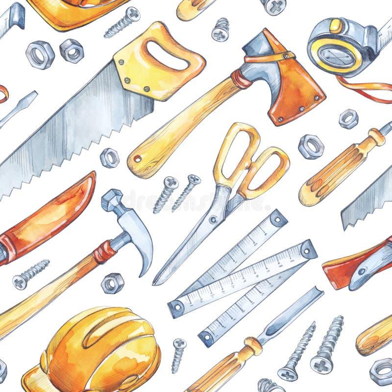 人` s工作例证 与木匠业工具的无缝的样式 水彩轴,锯