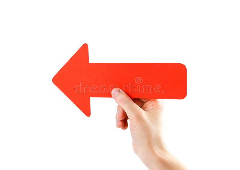 人` s手拿着一个大红色箭头 关闭 隔绝在wh 库存图片