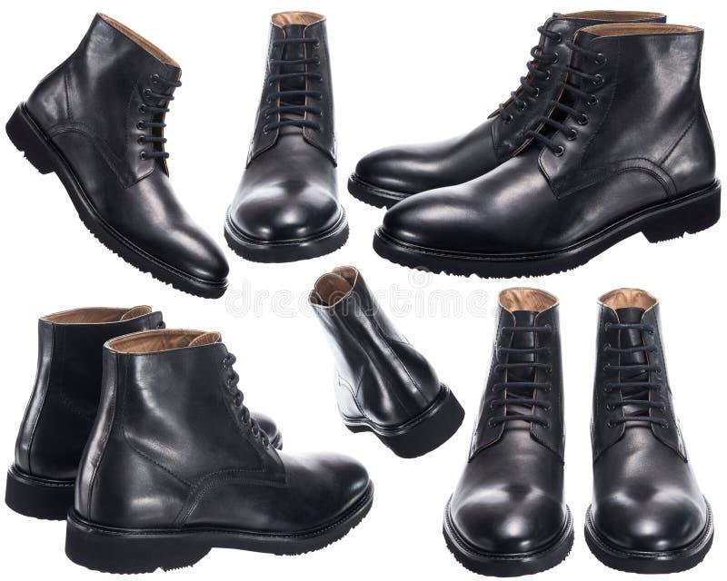 人` s有鞋带的黑色鞋子 免版税库存照片