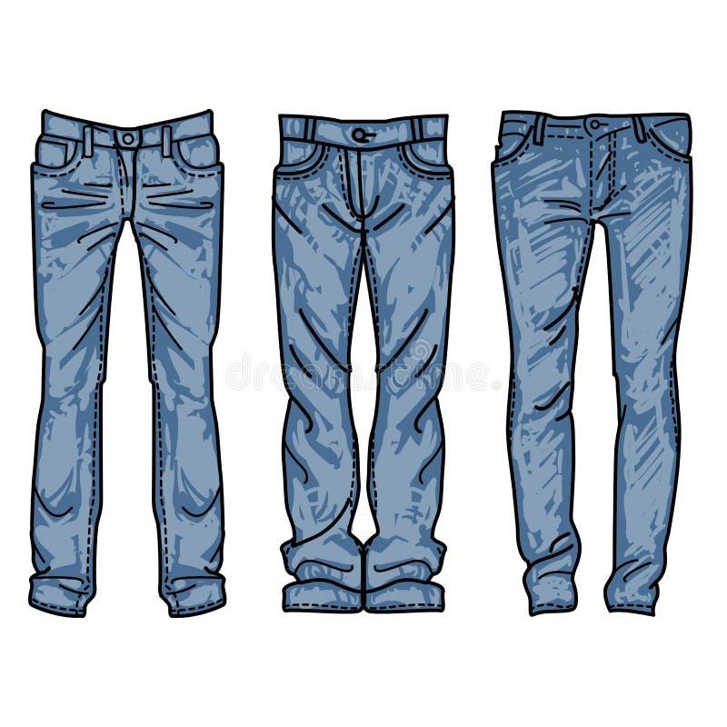 人` s牛仔裤的手拉的时尚收藏 图画蓝色牛仔裤 免版税图库摄影