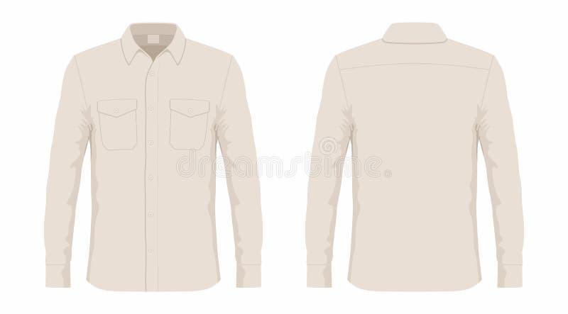 人` s米黄男式衬衫 皇族释放例证
