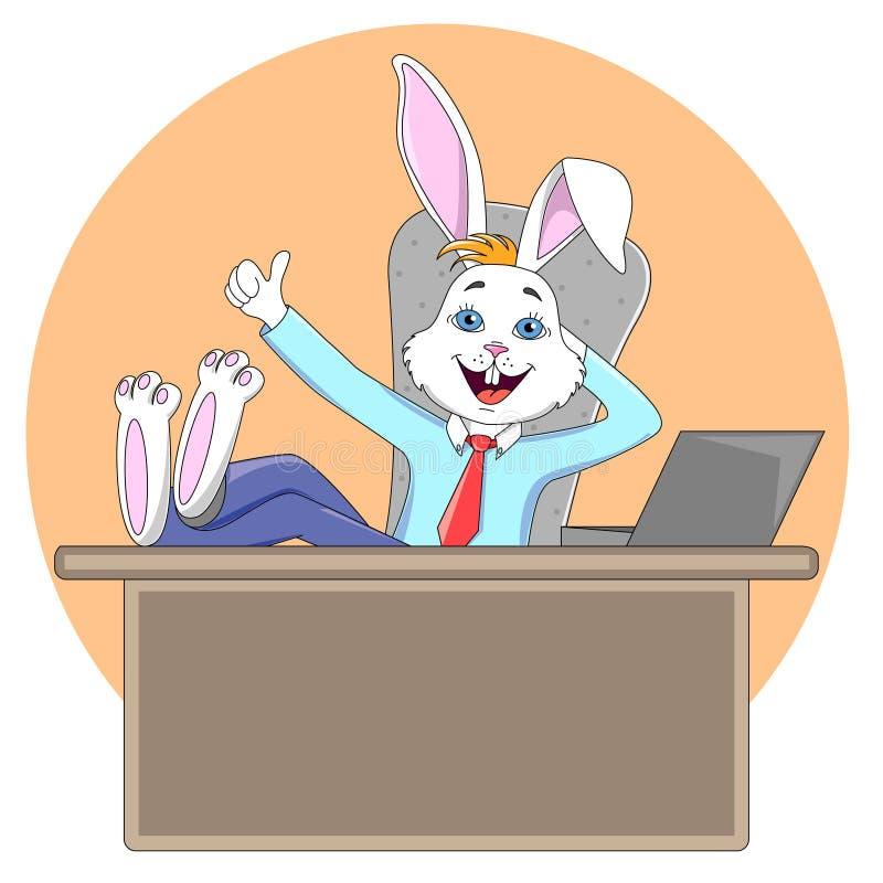 人` s衣服的兔子经理坐在办公室桌上,有 库存例证
