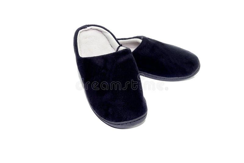 人` s黑色拖鞋 免版税图库摄影