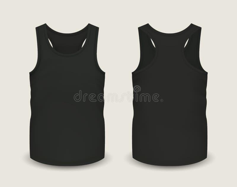 人` s黑色没有袖子的无袖衫在前面和后面看法 也corel凹道例证向量 库存例证