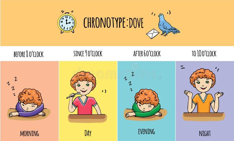 人Chronotype:鸠 库存例证