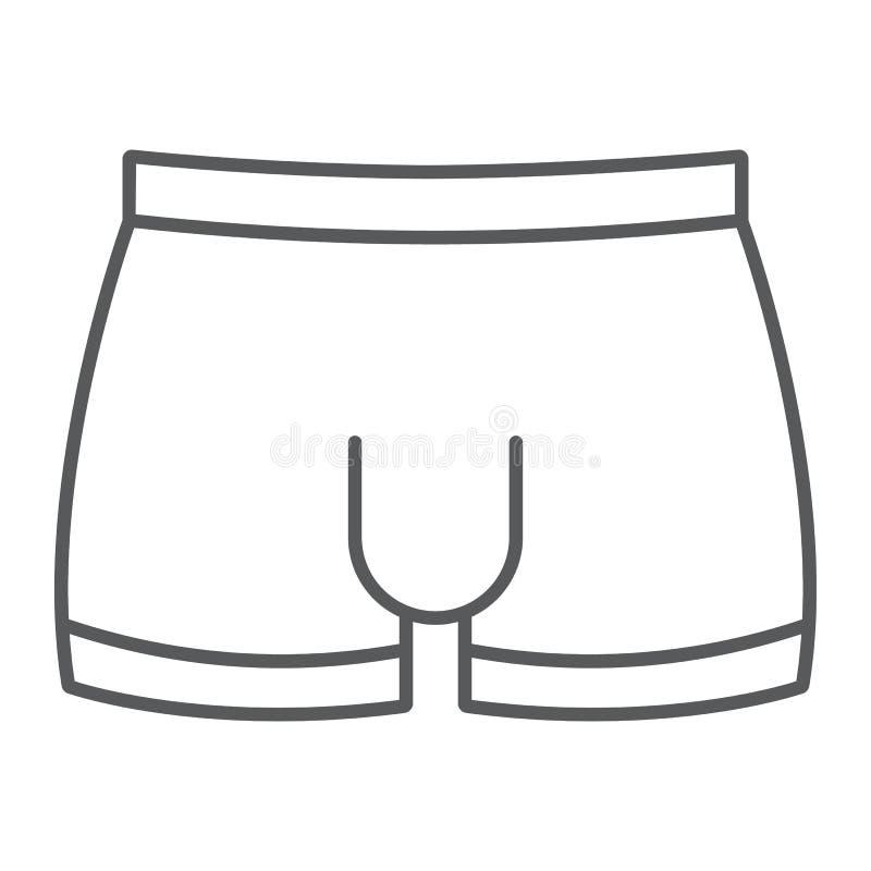 人underware稀薄的线象,男性和内衣,摘要签署,向量图形,在白色背景的一个线性样式 向量例证