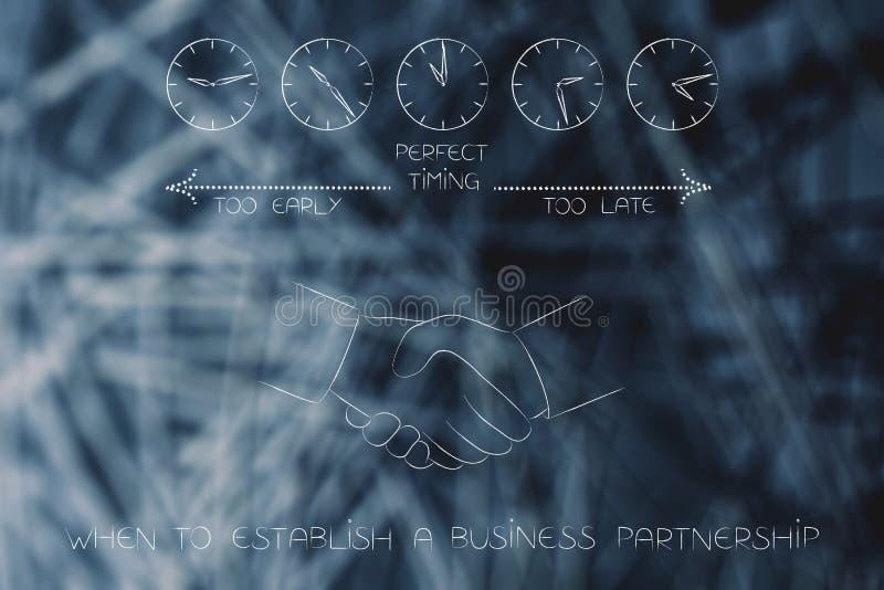 什么时候建立与握手和cloc的企业合作 库存例证