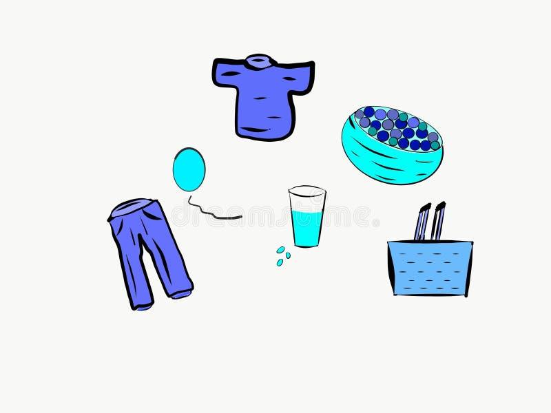 什么样的事是颜色蓝色的? 库存例证