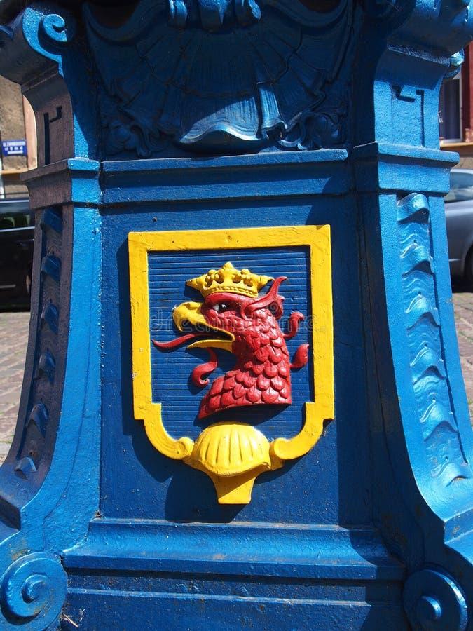 什切青的徽章什切青波兰的市中心 库存图片