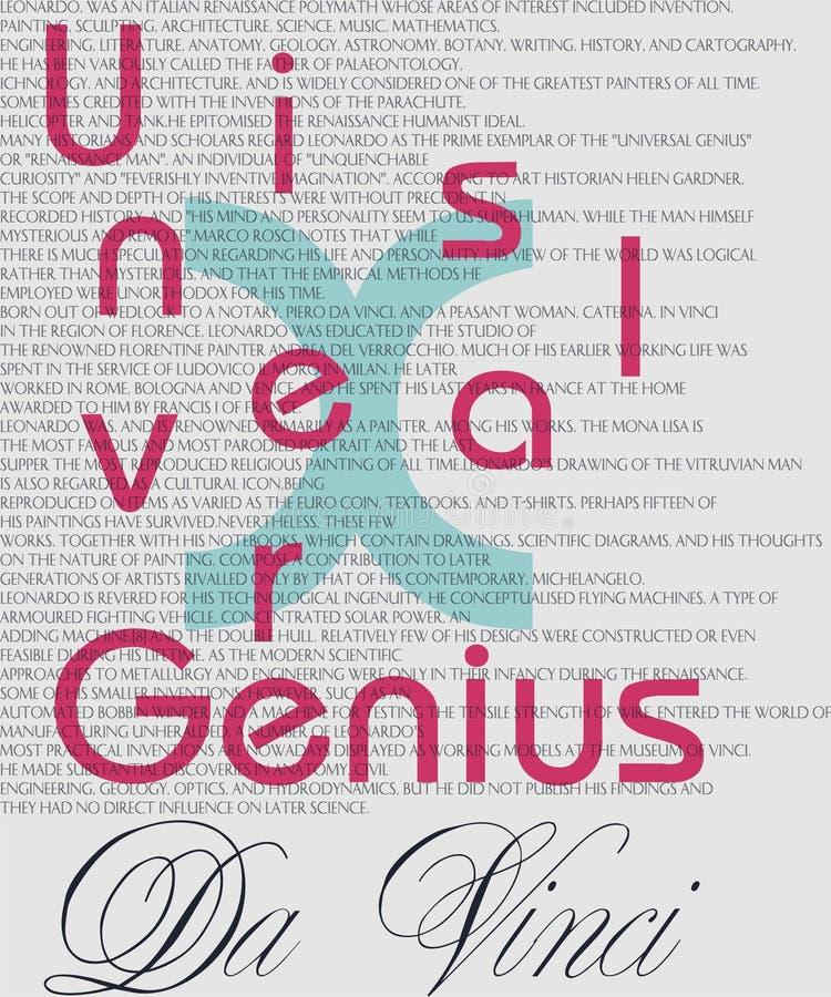 仅有的普遍天才,知识与10天才-列奥纳多・达・芬奇是相等的 皇族释放例证