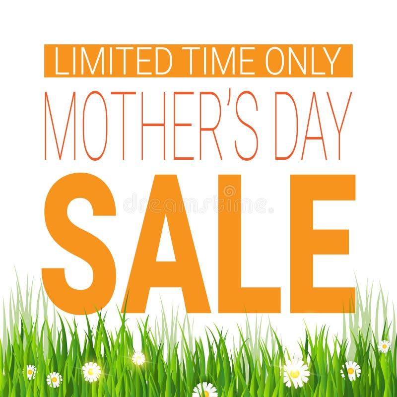 仅母亲节销售海报时间有限购物的折扣标记 皇族释放例证