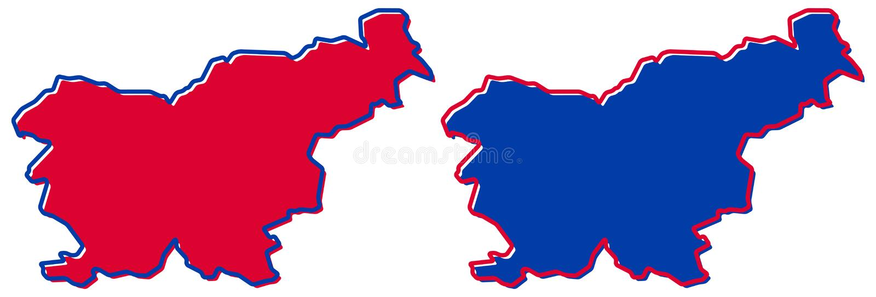 仅简单的锋利的角落映射-共和国斯洛文尼亚传染媒介图画 麦卡托投影 被填装的和概述版本 皇族释放例证