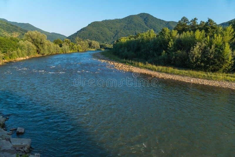 今后负担它快速的水河 在绿色海岸之间的潮流对在一个厚实的森林前面的山 库存照片