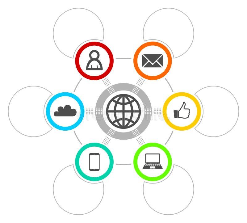 介绍、图、图、图表、事务和社会媒介概念的Infographic模板与6个选择 库存例证