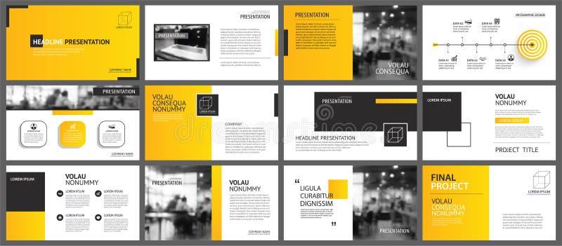 介绍和幻灯片布局背景 设计黄色和橙色梯度几何模板 企业年终报告的用途, 向量例证
