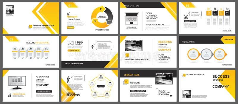 介绍和幻灯片布局背景 设计黄色和橙色梯度箭头模板 企业年终报告的,飞行物用途 库存例证