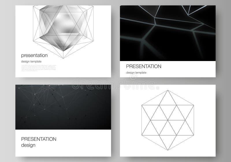 介绍幻灯片的minimalistic抽象传染媒介布局设计企业模板 3d多角形几何 向量例证