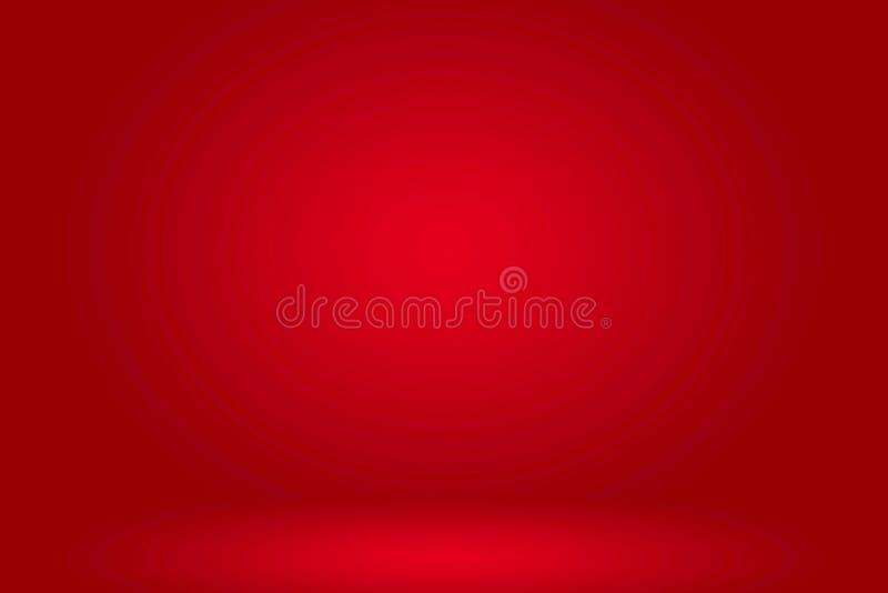 介绍的摘要红灯空的室演播室背景与红色梯度颜色 库存例证