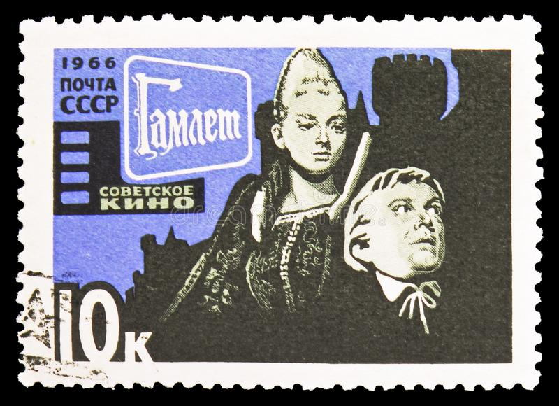 从'哈姆雷特'G的场面 Kozincev,1964年,苏联戏院艺术serie,大约1966年 免版税图库摄影