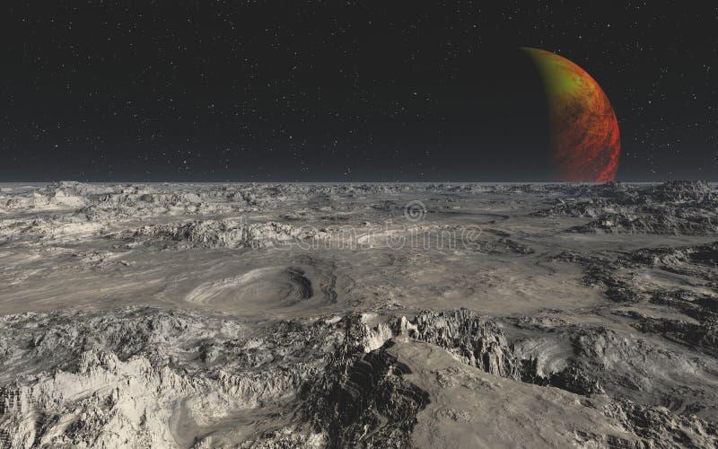 从一个外籍人行星的岩石沙漠 免版税库存照片