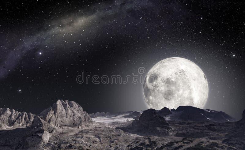 从一个外籍人行星的表面观看的月亮 库存例证