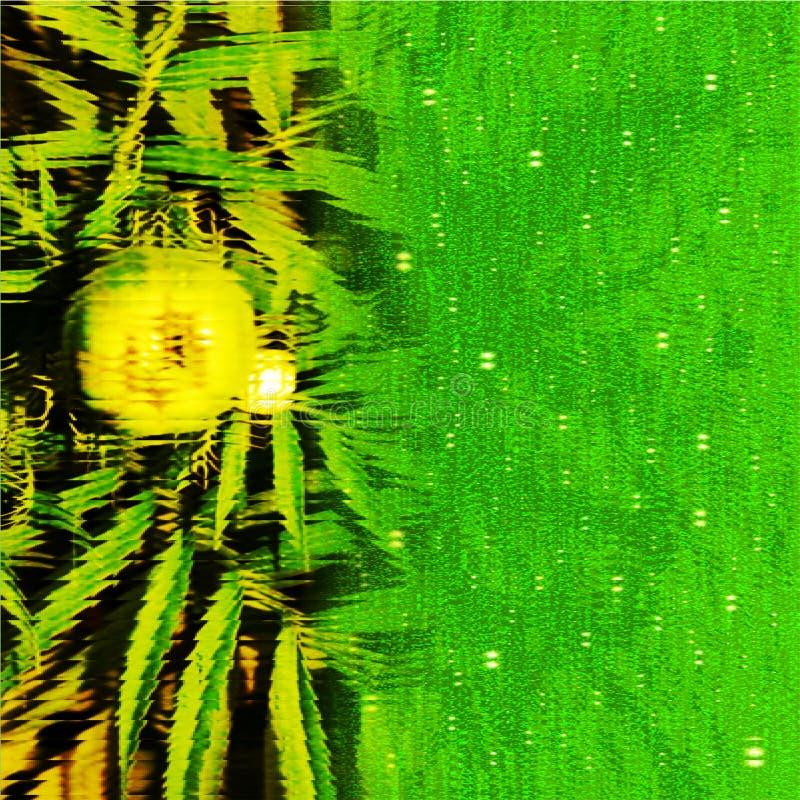 从一个玻璃窗计算机生成的背景影像和墙纸设计的绿色增长的花模糊的视图里面 向量例证
