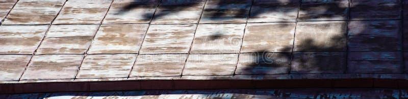 从一个老金属长方形屋顶的背景有从树的冠的阴影的 库存图片