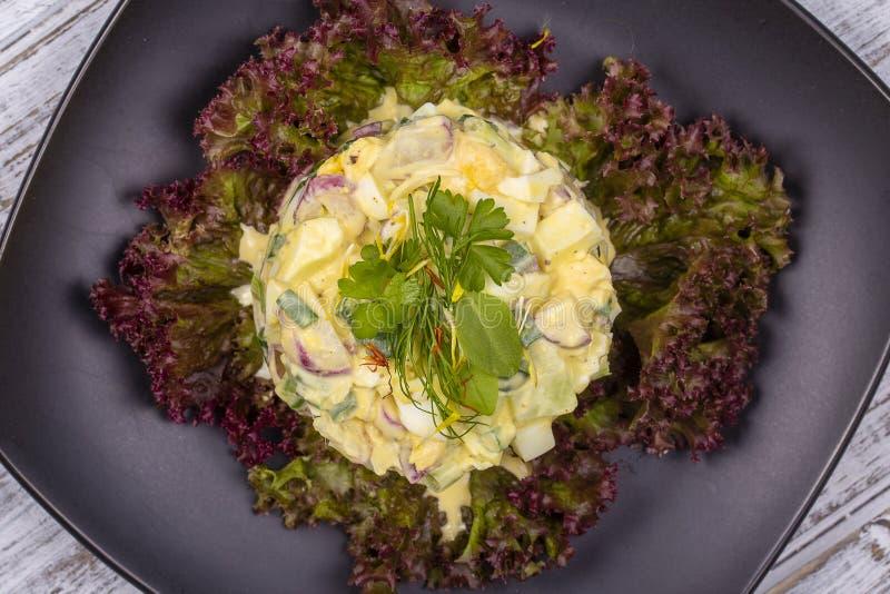 从一个萝卜、葱、土豆、黄瓜和煮沸的鸡蛋的新鲜的沙拉用在莴苣的蛋黄酱离开 顶视图 库存照片