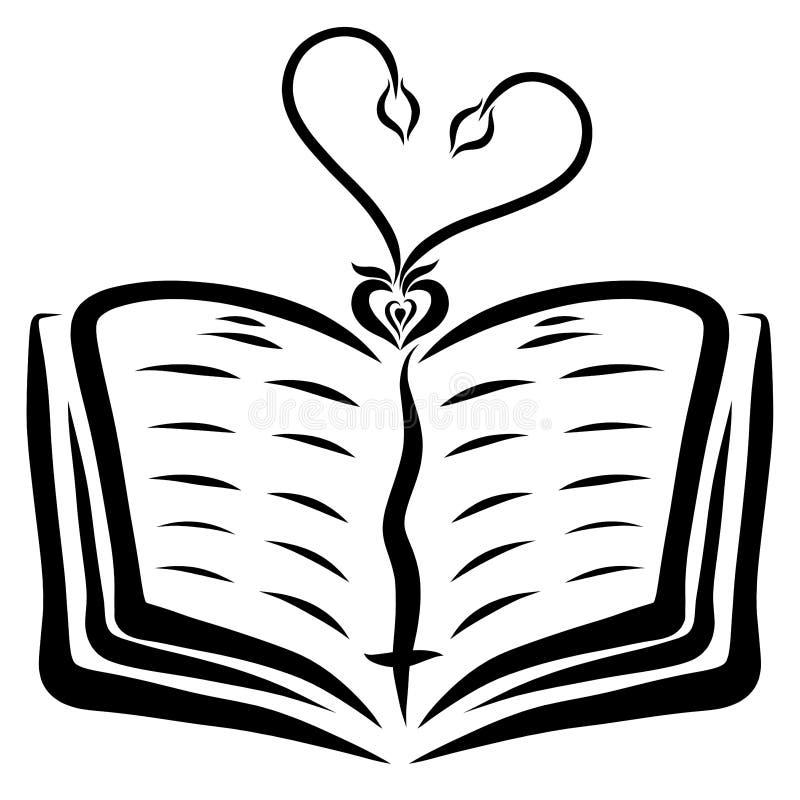 从一五谷的两个年轻新芽以在一部开放圣经的心脏的形式 向量例证