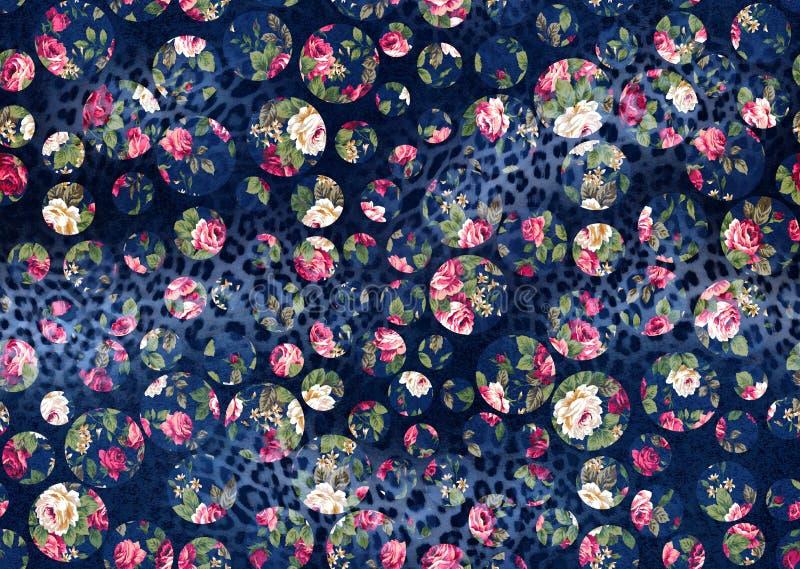 从一件花饰、时兴的现代墙纸或者纺织品的无缝的背景 向量例证