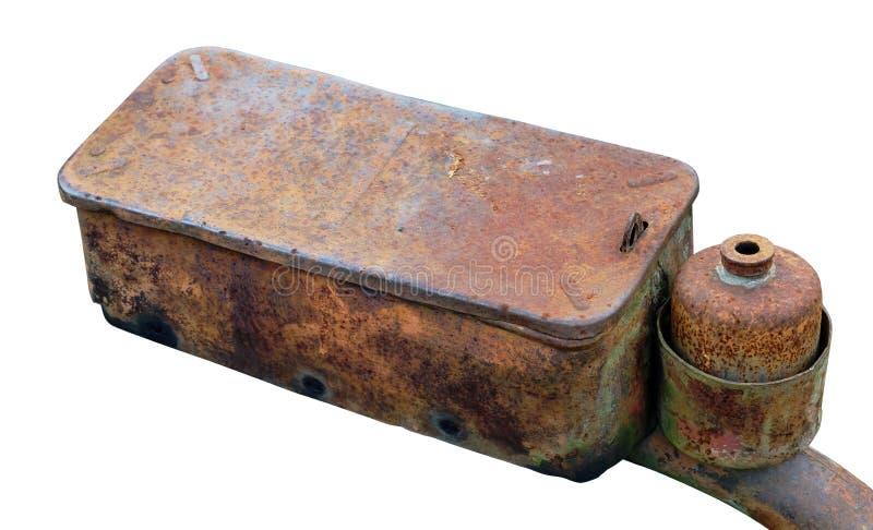 从一台柴油拖拉机的生锈的缺陷部分 免版税库存照片