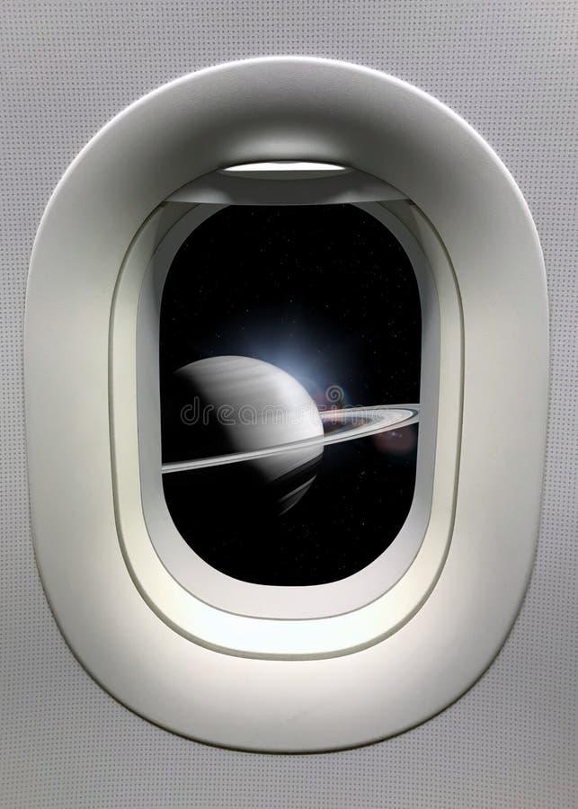 从一扇舷窗的看法在土星背景 美国航空航天局装备的这个图象的元素 库存照片