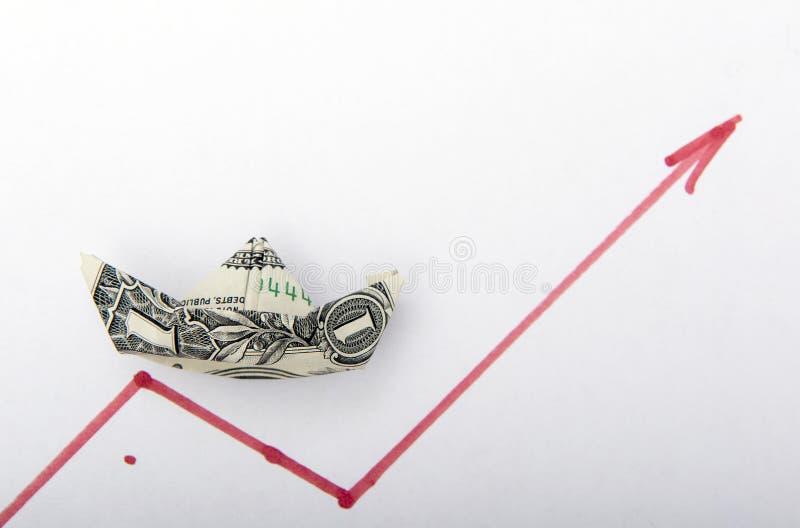 ?? 从一美元折叠的小船举行在日程表的方式 免版税图库摄影