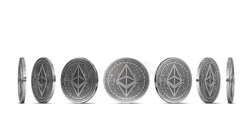 从七个角度显示的银色Ethereum硬币隔绝在白色背景 容易删去和使用特殊硬币角度 皇族释放例证